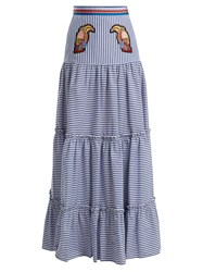 Stella Jean Tiered Striped Maxi Skirt Navy Stripe