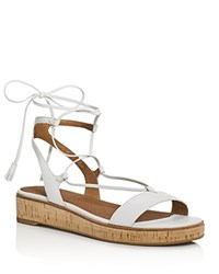 Frye Miranda Leather Gladiator Wedge Sandals White