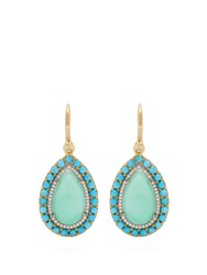 Irene Neuwirth 18Kt Gold Chrysoprase And Turquoise Earrings Green