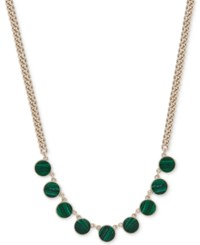 Dkny Gold Tone Colored Stone Collar Necklace Created For Macy's Green