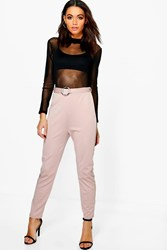 Boohoo Millie Belted Ring Detail Slim Fit Trousers Taupe