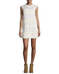 Belstaff Cap Sleeve Lace Dress W Leather Trim Off White Women's