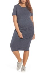 Treasure And Bond Side Ruched Body Con Dress Navy Night Heather