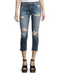 Rag And Bone Dre Capri Distressed Denim Jeans Indigo