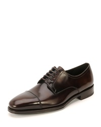 Salvatore Ferragamo Cap Toe Lace Up Oxford Shoe Brown