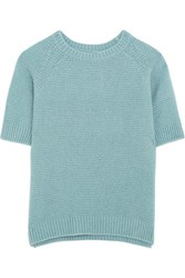 Max Mara Cashmere And Silk Blend Sweater Blue