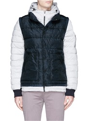 Scotch And Soda Vest Overlay Wired Hood Puffer Jacket Grey