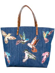 Red Valentino Large Bird Print Tote Blue