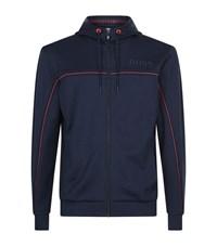 Hugo Boss Green Zip Up Hoodie Male Navy