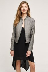 Anthropologie Dara Vegan Leather Jacket Grey