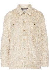 Current Elliott The Teddy Trucker Faux Shearling Jacket White
