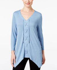 Styleandco. Style Co. Lace Up Handkerchief Hem Top Only At Macy's Blue Fog