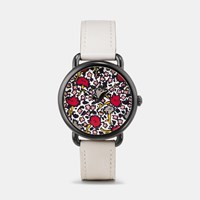Coach Delancey Ionized Plated Floral Dial Leather Strap Watch Chalk