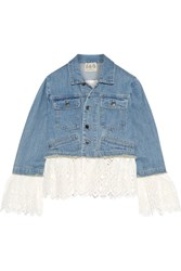 Sea Broderie Anglaise Cotton Paneled Denim Jacket Mid Denim