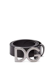 Dolce And Gabbana Dg Buckle Leather Belt Black Silver