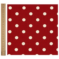 Unbranded Linen Look Polka Dot Print Fabric Red