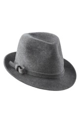 Helen Kaminski Genuine Rabbit Fur Felt Fedora Grey Granite Melange