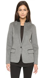 Vince Leather Trim Blazer Charcoal Melange Black