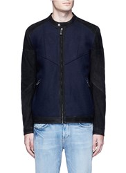 Scotch And Soda Sueded Leather Sleeve Blouson Jacket Blue