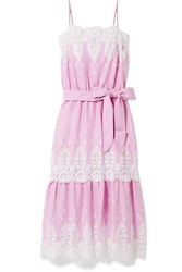 Miguelina Esme Belted Crochet Trimmed Linen Midi Dress Pink