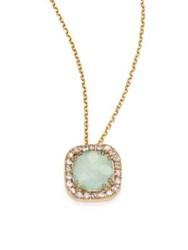 Suzanne Kalan Blue Chalcedony White Sapphire And 14K Yellow Gold Mini Cushion Pendant Necklace Gold Blue