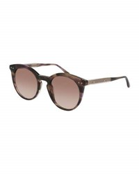 Bottega Veneta Round Gradient Transparent Sunglasses Brown Havana Brown Pattern