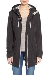 Women's Pajar 'Gabriella' Contrast Zip Hooded Raincoat Black