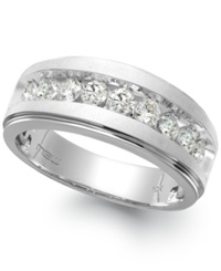 Macy's Men's Nine Stone Diamond Ring In 10K White Gold 1 4 Ct. T.W.
