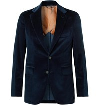 Loro Piana Navy Slim Fit Cotton And Cashmere Blend Corduroy Blazer Blue