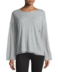 The Row Zadie Dropped Shoulder Cashmere Top Pebble Gray Women's