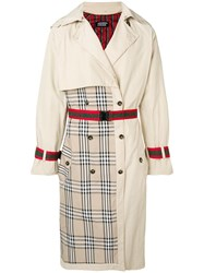 Andrea Crews Check Detail Coat Neutrals