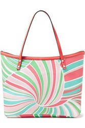 Emilio Pucci Woman Printed Faux Textured Leather Tote Coral