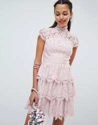 Chi Chi London Tiered Lace High Neck Skater Dress Pink