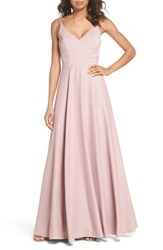Hayley Paige Occasions Cutout Crepe A Line Gown Dusty Rose