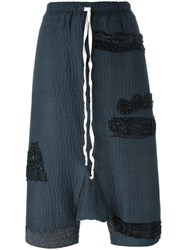 By Walid Drop Crotch Cropped Pants Blue