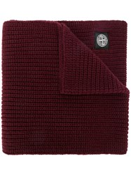Stone Island Ribbed Scarf Red