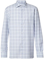 Isaia Checked Shirt White