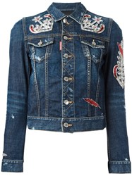 Dsquared2 Anchor Patch Denim Jacket Blue