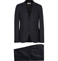 Saint Laurent Midnight Blue Slim Fit Pinstriped Wool Flannel Suit Navy