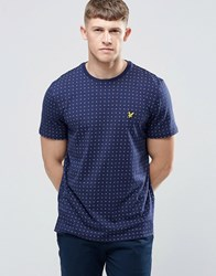 Lyle And Scott T Shirt With Square Dot Print In Navy Navy