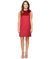 Tahari By Arthur S. Levine Petite Bow Shoulder Satin Shift Garnet Women's Dress Red