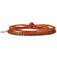 Isaia Saracino Silver Amber Beaded Wrap Bracelet Orange
