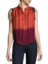 Free People Striped Button Front Shirt Coral