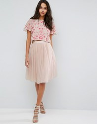 Needle And Thread Tulle Midi Skirt Petal Pink
