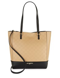 Karl Lagerfeld Quilted Reversible Leather Tote Nude Black