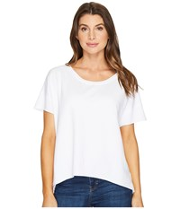 Mod O Doc Cotton Modal Spandex French Terry Short Sleeve Boxy Tee White Women's T Shirt