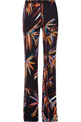Emilio Pucci Printed Stretch Jersey Wide Leg Pants Black