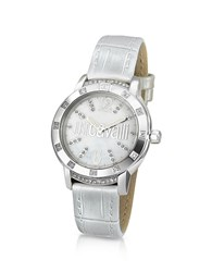Just Cavalli Crystal Lady Mother Of Pearl Dial Dress Watch Silver