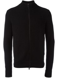 Michael Kors High Neck Ribbed Cardigan Black