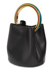 Marni Pannier Leather Shoulder Bag Black